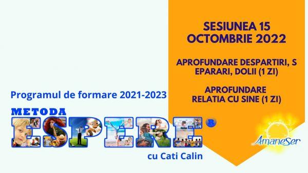 Sesiunea 12 octombrie 2022 Aprofundare despartiri, separari, dolii (1 zi) Aprofundare relatia cu sine (1 zi)